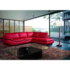 2917B Modern Purple Leather Sectional Sofa (1,910 CAD) ❤ liked on Polyvore featuring home, furniture, sofas, leather couch, modern leather sectional, purple leather sofa, modern furniture and modern chaise