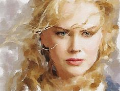 Watercolor portrait by Vitaly Shchukin, Nicole Kidman.