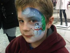 snowman face painting - Face painting idea for Christmas party