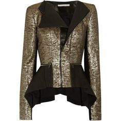 Willow Leather and metallic-twill jacket (£575) ❤ liked on Polyvore featuring outerwear, jackets, coats, blazers, coats & jackets, real leather jacket, blazers jersey, metallic jacket, gold metallic jacket and jersey blazer