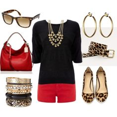 Leopard flats, red (or coral) shorts, black top.
