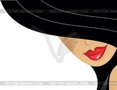 Женщина в шляпе - векторная графика