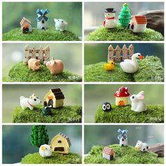 3pcs/lot animals rabbit fence dog house fairy garden miniatures gnome moss terrariums  garden resin crafts decoration for home