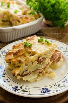 Potato Casserole with Sausage   Zapiekanka ziemniaczana z kiełbasą (in Polish)