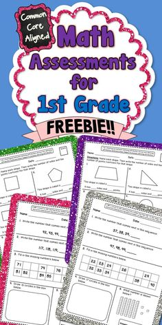 **FREEBIE!!** This freebie contains 4 Common Core math assessments for 1.G.1 and 1.NBT.1. #CommonCore #1stGrade #MathAssessments