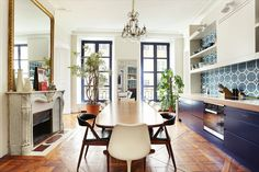 If you're ever planning a trip to Paris, bookmark this rental. Even if you don't have impending plans to visit Paris, bookmark this rental. Located in heart of St Germain, nestled in the hustle and bustle… Paris Home, 3 Bedroom Apartment, Shop Interior Design, Pent House, Beautiful Interiors, Luxury Real Estate, Renting A House, Building A House, Kitchen Design