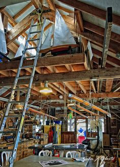 The Boatwright's Shop at the Wooden Boat Center  --  These places are good for the soul. There's the comfort of holding well worn hand tools and the smells of sawn cedar and freshly applied varnish. And in the Winter, there's a small wood burning stove for warmth.