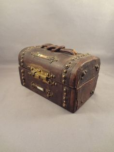 French Fashion Doll Trunk in Leather with Mother of Pearl Accents from jackieeverett on Ruby Lane
