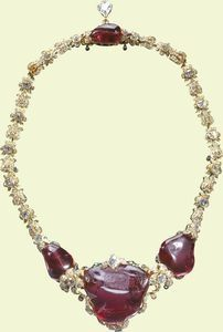 The Timur Ruby Necklace is mounted with one of the most historically significant jewels the Queen owns. The Timur Ruby Necklace: Timur R. British Crown Jewels, Royal Crown Jewels, Royal Crowns, Royal Tiaras, Royal Jewelry, Tiaras And Crowns, Fine Jewelry, Ruby Jewelry, Victorian Jewelry