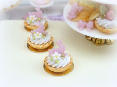 Pink Rabbit Cream Tartlet - 12th Scale Miniature Food