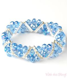 This blue crystal bracelet is a great for adding a pop of color or 'something blue' to your wedding day wardrobe.