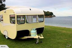 Fully restored caravan by Steve Hoskin (artist) // Facebook.com/stevehoskinsurfartist