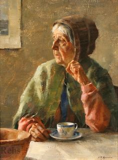 Harris, Gregory Frank's painrting  (b,1953)- Old Woman Drinking Coffee