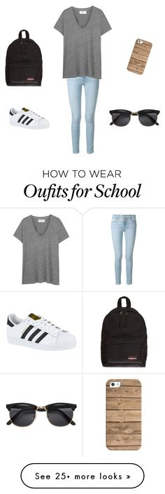 """""""school"""" by elisalund on Polyvore featuring Frame Denim, The Great, adidas, Eastpak and Casetify"""
