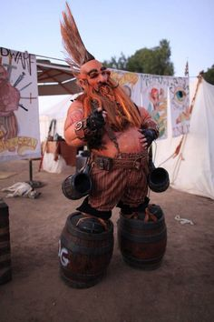 """Cutter """"The Fearless Dwarf """", circus character with """"Traveling Waldo's Amazing Travel Show"""", for Dying Kingdoms 10 year anniversary larp. He was told he was too tall to play a dwarf, The guy got creative."""