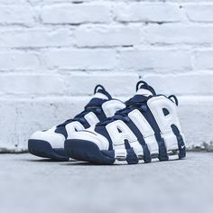 NIKE AIR MORE UPTEMPO WHITE MIDNIGHT NAVY GOLD OLYMPIC 414962 104   190  Navy Gold 4f3e1f20f