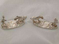 Pair Cast Victorian Silver Figural Donkey Knife Rests London 1885