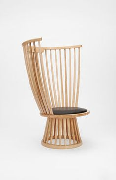 Fan chair Armchair - H 112 cm / Wood & leather Natural by Tom Dixon