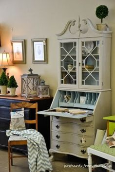 Postcards from the Ridge: Gallery Buff and Wythe Blue Painted Vintage Secretary Hutch