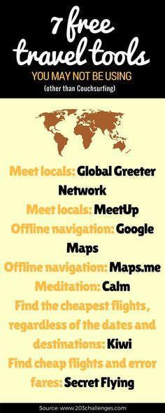 Discover the best #free #travel tools to make traveling easier and cheaper #cheaptravel #frugaltravel #meetlocals #travelcheaper