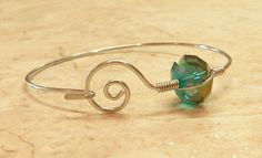 Wire Wrapped Bangle Bracelet with Large Faceted Crystal by 32beads, $15.00