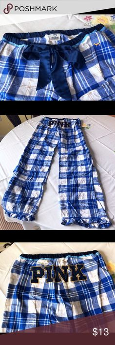 VS PINK Cozy Sleep Pants VS sleep pants in blue & white plaid with gold accents. Worn a handful of times, no flaws. PINK Victoria's Secret Intimates & Sleepwear Pajamas