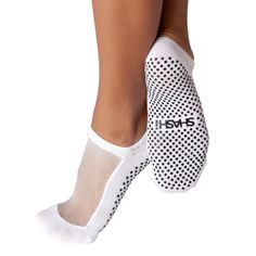 Classic Cool Grip Socks--Stay cool during Bikram in these breathable mesh panel top socks made especially for yoga, Barre or Pilates classes. A slip resistant gripper on the bottom of each sock provides you with stability and traction for a safe and stylish way to tone up.