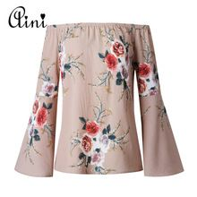 WAQIA New 2018 Summer Casual Blouse Loose Sexy Women Off Shoulder Tops Long Sleeve Shirt Flower Print Blouse Tops Plus Size 3XL(China)