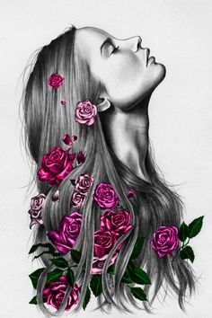 Beautiful woman sketch with colored roses