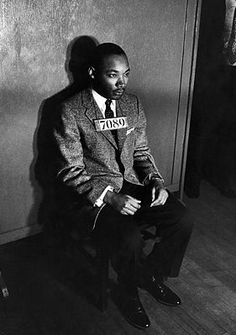 Martin Luther King sitting for his mug shot. With all the people, black & white, who went to jail during the Civil Rights Movement, when will it begin to occur to most Americans that all the people who do get arrested can't be guilty.