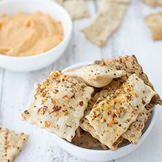 Pizza Crackers with Pizza Hummus HealthyAperture.com