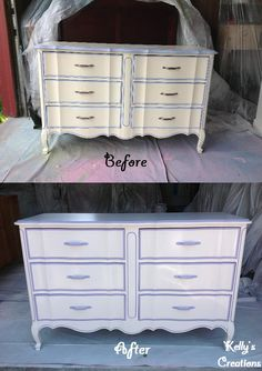 Purple and white French Provincial dresser before and after pictures. Refinished by Kelly's Creations. https://www.facebook.com/pages/Kellys-Creations-Refinished-Furniture/524028237619793