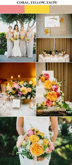 7 Chic Color Combos to Brighten Your Spring Wedding Coral, yellow, and taupe spring wedding color palette Vintage Wedding Colors, Best Wedding Colors, Spring Wedding Colors, Spring Wedding Inspiration, Wedding Color Schemes, Summer Wedding, Trendy Wedding, Yellow Wedding Colors, Yellow Weddings