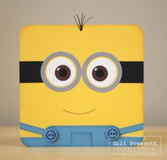 Despicable me minion card - cardstock: daffodil delight, chocolate chip, marina mist, basic black, whisper white, brushed silver; inks: daffodil delight, marina mist, smoky slate; punches: circles, corner rounder; accessories: circle framelits, big shot machine, white gel pen, basic grey stampin' write marker pen, marina mist buttons (retired), mini glue dots, paper snips, sponge daubers.