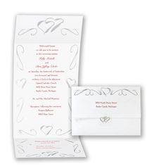 Silver Heart Seal and Send - Invitation  LOVE everything about this but would change the color of ink to purple  :)