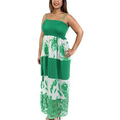 Shoreline Green & White Abstract Tiered Sheer Maxi Dress ($12) ❤ liked on Polyvore featuring plus size women's fashion, plus size clothing, plus size dresses, plus size, long maxi dresses, green dress, sheer maxi dress, white maxi dress and plus size green dress
