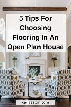 One of the big ticket items in any remodel, especially if you are working with an open plan house, is flooring. I'm offering up 5 tips to keep in mind if you are thinking of investing in new flooring for your open plan house. Types Of Floor Tiles, Wood Look Tile Floor, Types Of Flooring, Open Plan Kitchen Living Room, Kitchen Family Rooms, Living Room Flooring, Kitchen Flooring, Open House Plans, Floor Finishes