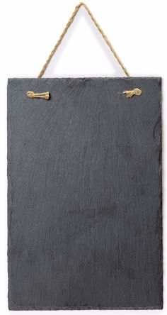 VersaChalk's frameless slate hanging chalkboard features a natural slate writing surface with a vintage look that goes great in any kitchen or home. Twine rope is attached through drilled holes in two