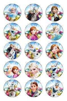 "Disney Frozen Easter Bottle Cap 1"" Circle Images Sheet #16 (instant download or pre cut)"