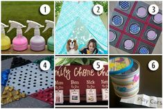 6 Family Friendly Crafts - spray chalk, reading tent, jam jar lid tic tac toe, outdoor chinese checkers, family chore chart, & boredom buster jar