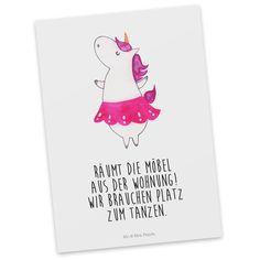 Postkarte Einhorn Ballerina aus Karton 300 Gramm  weiß - Das Original von Mr. & Mrs. Panda.  Diese wunderschöne Postkarte aus edlem und hochwertigem 300 Gramm Papier wurde matt glänzend bedruckt und wirkt dadurch sehr edel. Natürlich ist sie auch als Geschenkkarte oder Einladungskarte problemlos zu verwenden. Jede unserer Postkarten wird von uns per hand entworfen, gefertigt, verpackt und verschickt.    Über unser Motiv Einhorn Ballerina  Ein Einhorn Edition ist eine ganz besonders…