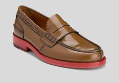 the leather doesn't look good, but it may just be the picture.  Brushed leather penny loafer ($169.99) by Tommy Hilfiger