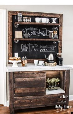 Here are 30 brilliant coffee station ideas for creating a little coffee corner that will help you decorate your home. See more ideas about Coffee corner kitchen, Home coffee bars and Kitchen bar decor, Rustic Coffee Bar. Coffee Bars In Kitchen, Coffee Bar Home, Home Coffee Stations, Coffee Counter, House Coffee, Coffe And Wine Bar, Coffee Bar Ideas, Office Coffee Station, Coffee House Decor