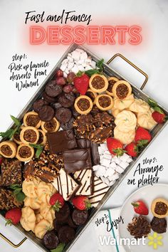 Walmart Grocery Holiday desserts are so quick and easy when you use Grocery Pickup at Walmart. Simply unpack all of your Walmart packaged bakery desserts and display on a large platter! Then add strawberries and mint for a pretty pop of color. Köstliche Desserts, Christmas Desserts, Christmas Treats, Christmas Baking, Holiday Treats, Holiday Recipes, Delicious Desserts, Dessert Recipes, Thanksgiving Decorations