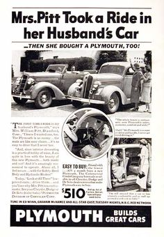 1936 Plymouth original vintage advertisement. Features the convertible model and sedan. Easy to buy at only $25 per month. MSRP started at $510 for the base sedan model.