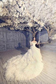 Wedding gown and white flowering tree with a swing // Pinned by Dauphine… Dream Wedding Dresses, Wedding Gowns, Wedding Shot, Wedding Photoshoot, Photoshoot Ideas, Ball Dresses, Ball Gowns, Women's Dresses, Dresses Online