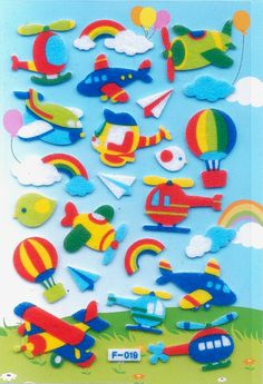 Korean Scrapbook Felt Stickers The Sky by scrapbooksupply on Etsy, $1.75
