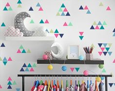 Triangle Wall Decals - Colorful Vinyl Wall Decals, Nursery Decals, Unique Geometric Wall Decor, Multicolored Decals
