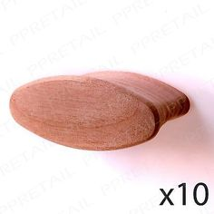 10x Pre-Drilled Oval Wood Drawer/Door Knob Handle Natural Beech Cabinet Cupboard