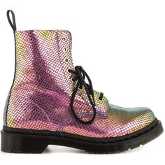 Dr Martens Women's Pascal - Violet Mirror Shif Suede (€120) ❤ liked on Polyvore featuring shoes, boots, ankle booties, botas, ankle boots, dr martens boots, faux suede ankle booties, suede boots, bootie boots and short heel boots